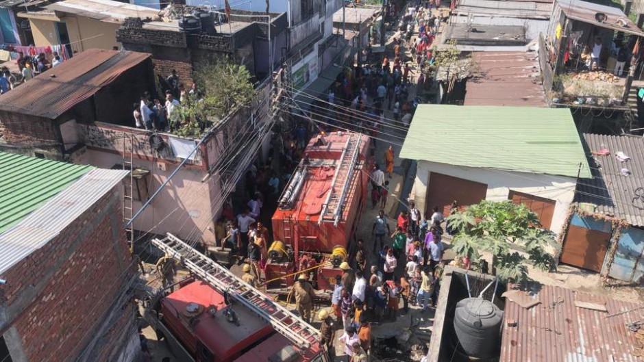 Fire Brigade after Fire at Gwalapatty, Burdwan road, behind Vishal Mega Mart in Siliguri