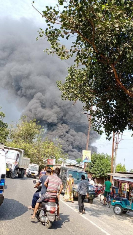 Fire at a Thermacol factory in Matigara Khaprail, Himul Road near Bhangapool