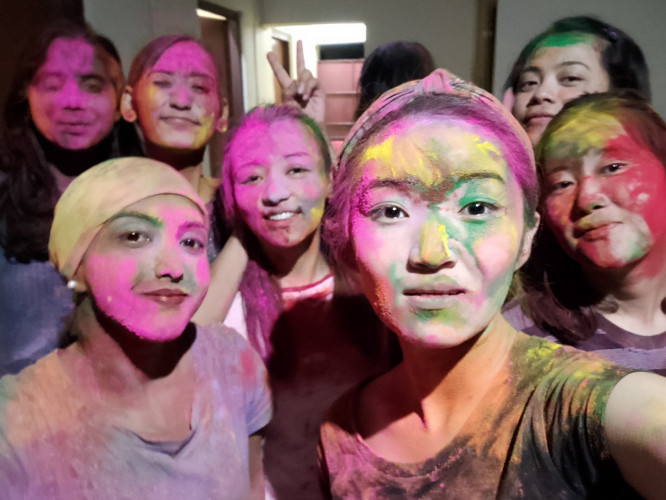 Holi Celebration 2020 - Hostel life 🤍🖤♥️